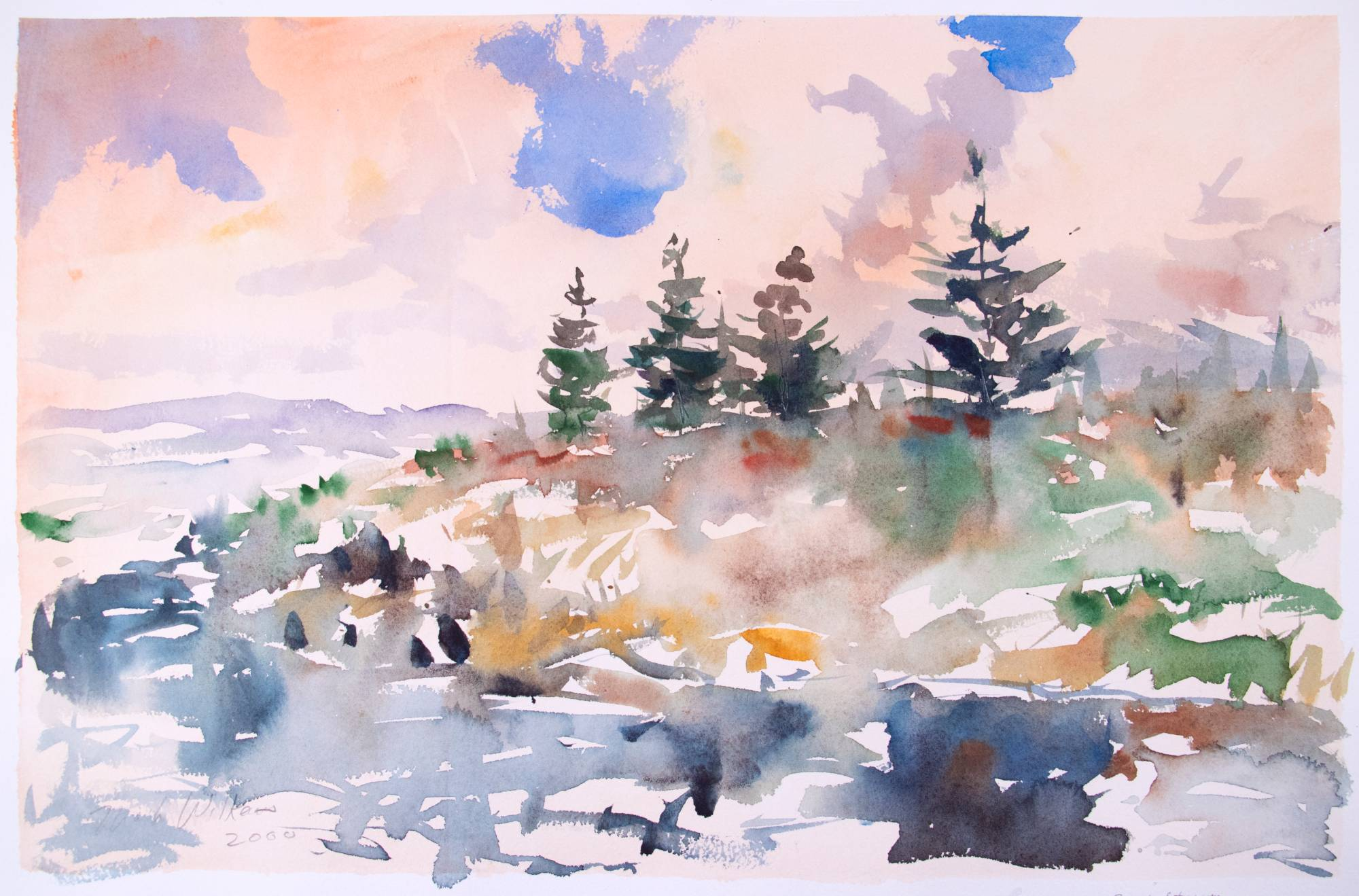 A watercolor nature scene with trees and clouds.